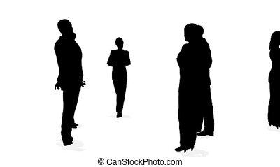 cirkels, silhouette, drie, zakenlui