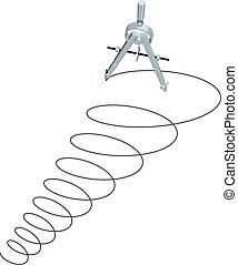 cirkels, spiraal, op, opstellen, ontwerp, kompas, tekening