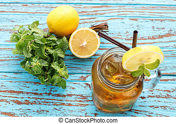 citroen, leven, opfrissing, fris, munt, zomer, thee, nog, drank