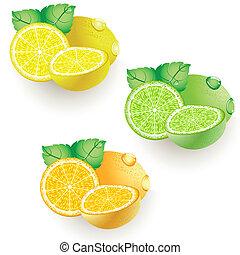 citroen, sinaasappel, kalk