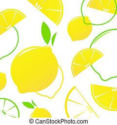 citroen snijdt, fruit, fris, -, vrijstaand, white., vector, achtergrond., stylized