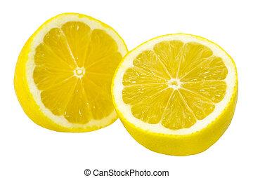 citroen snijdt, op, fris, afsluiten, witte