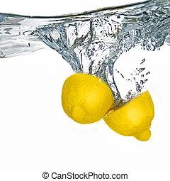 citroen, vrijstaand, water, gevallen, fris, bellen, witte