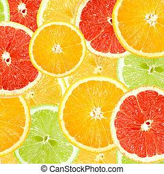 citrus, abstract, achtergrond, schijfen
