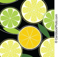 citrus vrucht, zwarte achtergrond, (vector)