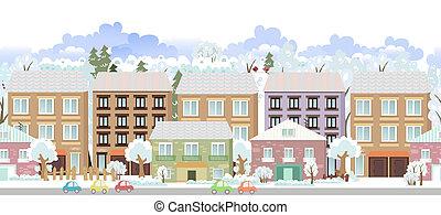 cityscape, grens, panorama., winter, seamless