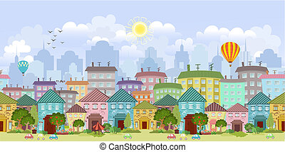 cityscape, grens, seamless