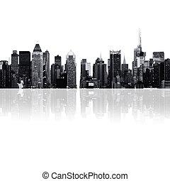 cityscape, silhouettes, -, wolkenkrabbers