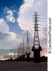 cityscape, toren, dramatisch, macht