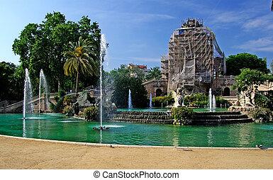 ciutadell, centrum, park, barcelona., fontijn, wederopbouw, spain., de bouw.