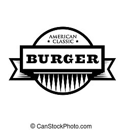 classieke, postzegel, ouderwetse , -, hamburger, amerikaan