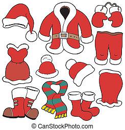 claus, gevarieerd, kerstman, kleren