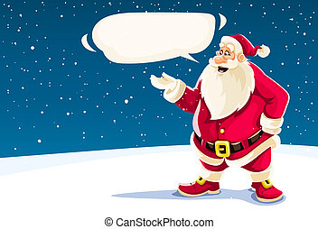 claus, kerstman, cloud., boodschap, kerstmis, het spreken