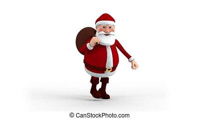 claus, kerstman, zak, cadeau, rennende