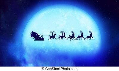 claus, reindeers, kerstman, loopable, concpet