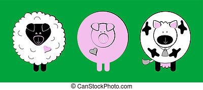 clip-art, dier, boerderij