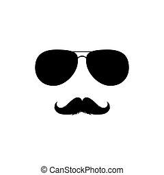 clipart., silhouette, vector, moustaches, zonnebrillen, vrijstaand, black