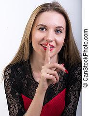 close-up, brunette, haar, lippen, vrouw, het putten, aantrekkelijk, vinger