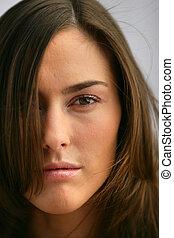 close-up, brunette, model