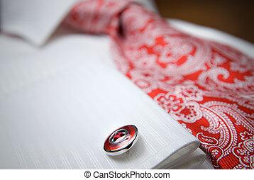 close-up, hemd, foto, stoeterij, vastknopen, wit rood