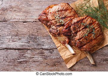 close-up, oud, aanzicht, keukenkruiden, tafel, varkensvlees, grilled, bovenzijde