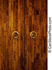 close-up, oud, deur, beeld