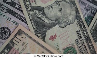 close-up, rekeningen, telling, iemand, dollars