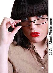 close-up, verleidelijk, brunette