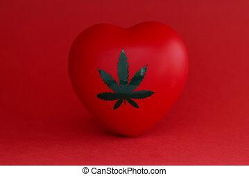 closeup, marihuana, rood hart, speelbal, achtergrond, blad