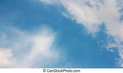 closeup, op, blauwe hemel, wolken, witte