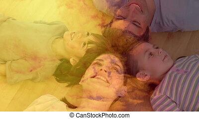 clouds., animatie, vloer, dochter, zoon, paar, het glimlachen, sinaasappel, het liggen