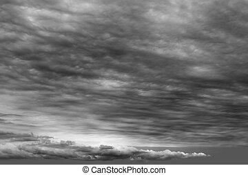 cloudscape, wolken, stormachtig, grijs, bewolkt, donker, dag
