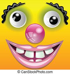 clown, het glimlachen