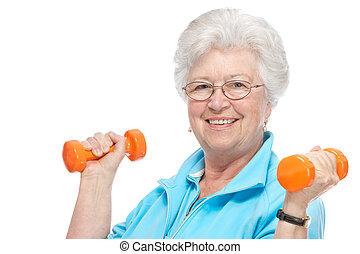 club, oude vrouw, gezondheid, aantrekkelijk