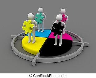cmyk, concept., man, puzzle., 3d