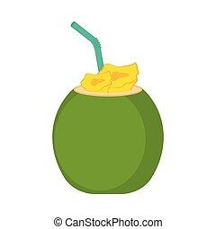 cocosnoot, beeld, cocktail