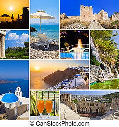 collage, beelden, reizen, griekenland