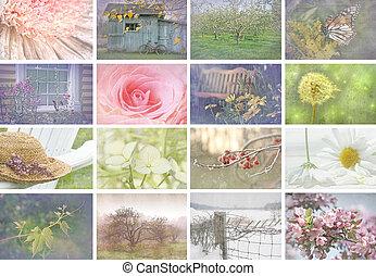 collage, beelden, seizoenen, blik, ouderwetse