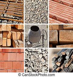 collage, bouwsector, materialen