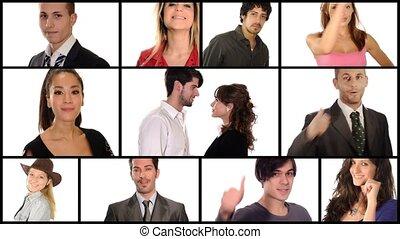 collage, duim-omhoog, mensen