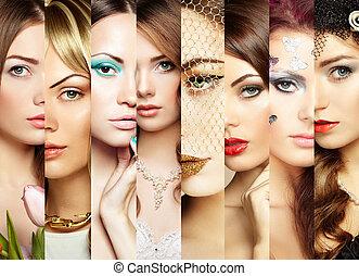 collage., gezichten, beauty, vrouwen
