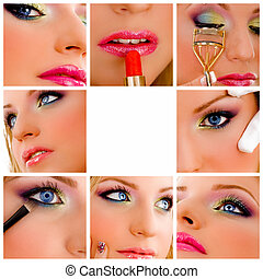 collage, makeup, -, beauty