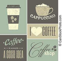 collage, ouderwetse , koffie