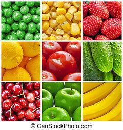 collage, verse grostes, vruchten