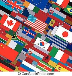 collage, vlaggen, achtergrond