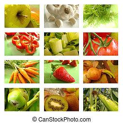 collage, voeding, gezond voedsel