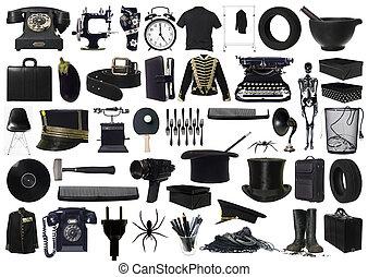 collage, voorwerpen, black