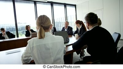 collectief, vergadering, zakenlui