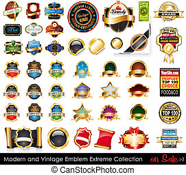 collection., emblems, extreem, moderne, ouderwetse