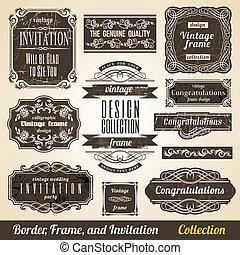 collection., frame, calligraphic, uitnodiging, hoek, element, grens